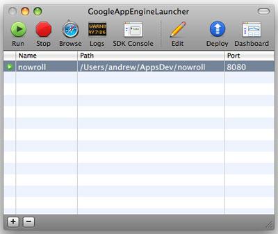 A screenshot of the Google App Engine Launcher