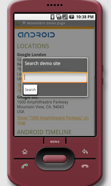 The Mosembro search interface