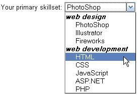 HTML select optgroup