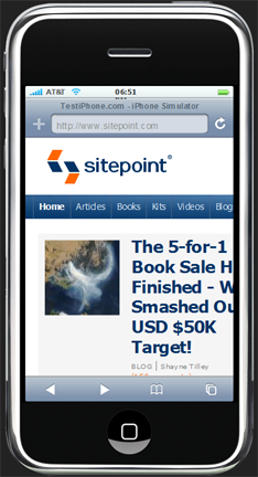 Sitepoint iPhone simulation.