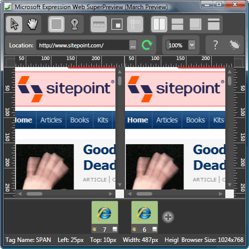 SuperPreview layout