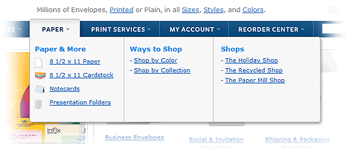 Mega menus at actionenvelope.com