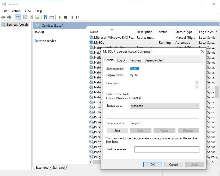 Windows MySQL service