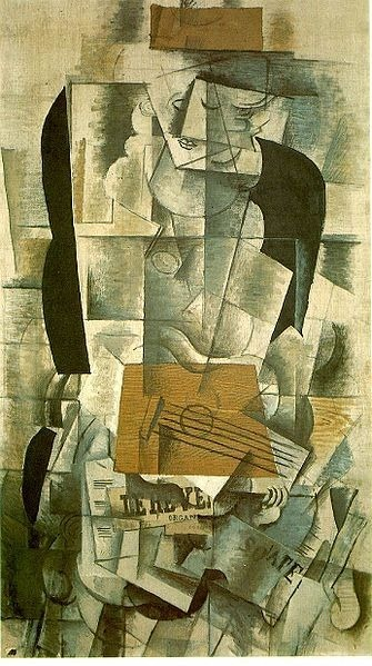 Georges Braque: Woman with a guitar, painted 1913, in the Musée Nationale d'Art Moderne, Centre Georges Pompidou, Paris, France.