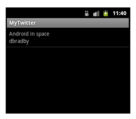 Android Emulator Twitter Feed