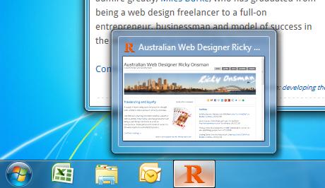 Taskbar icon thumbnail display