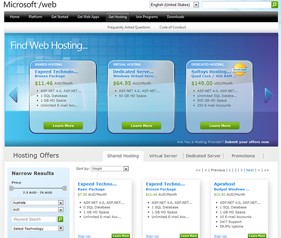 Windows Web Hosting Gallery