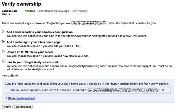 Webmaster Tools verification