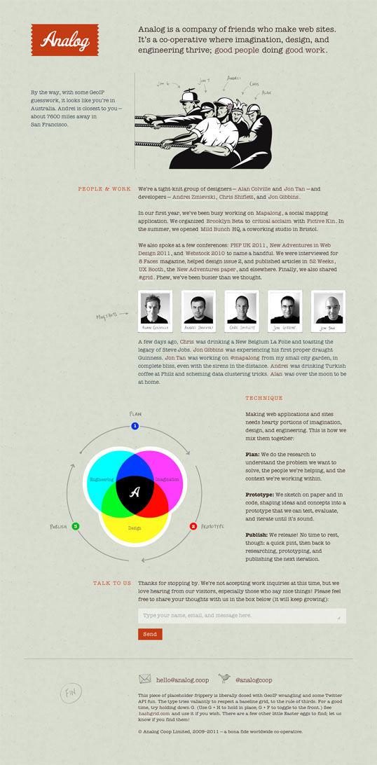 The gorgeous, minimalist website of Analog Coop