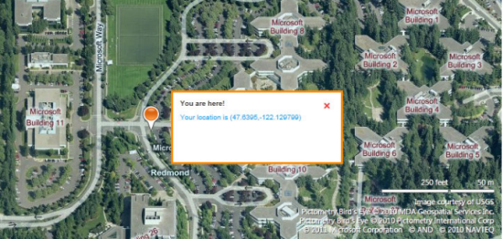 showing user location