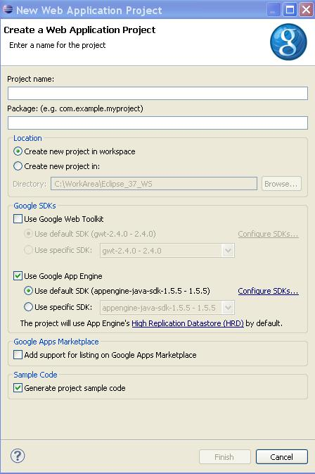 Creating new GAE project in Eclipse