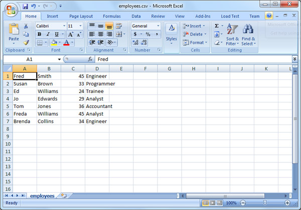 Excel showing a CSV file