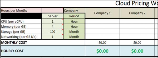 Pricing Worksheet example