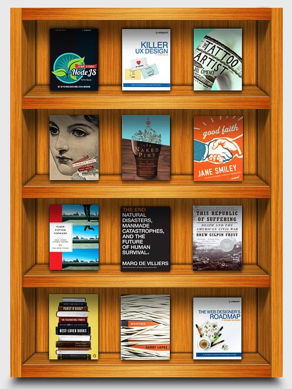 Wooden Bookshelf Mockup