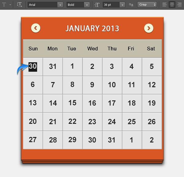 2013 calendar UI