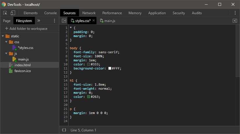Chrome DevTools file editing