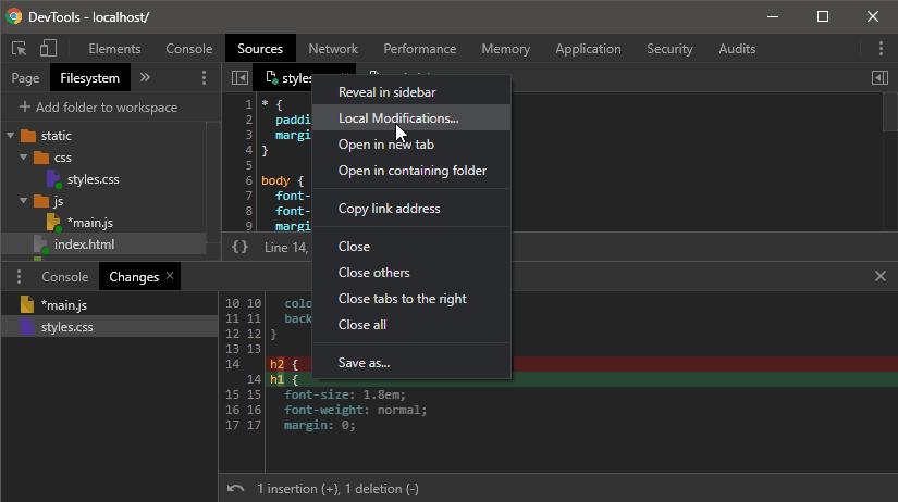 Chrome DevTools changes