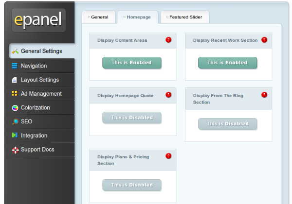 sample options panel screenshot