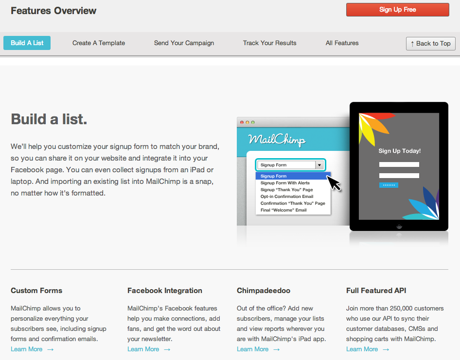 Mailchimp's features page