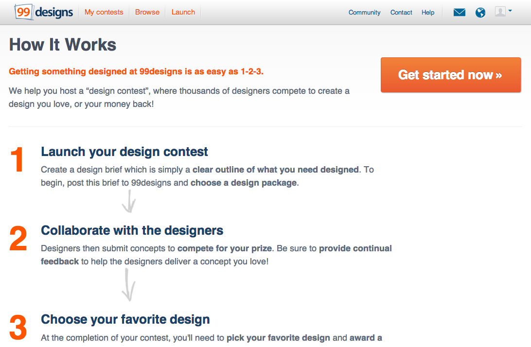 The 99designs How It Works page