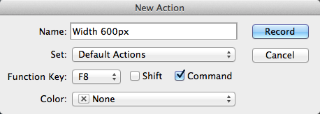 Photoshop Actions New Action