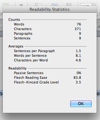 Word readability dialog box