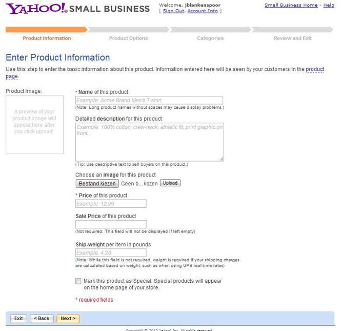 yahoo product info
