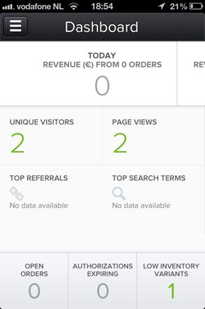 shopify mobile dashboard