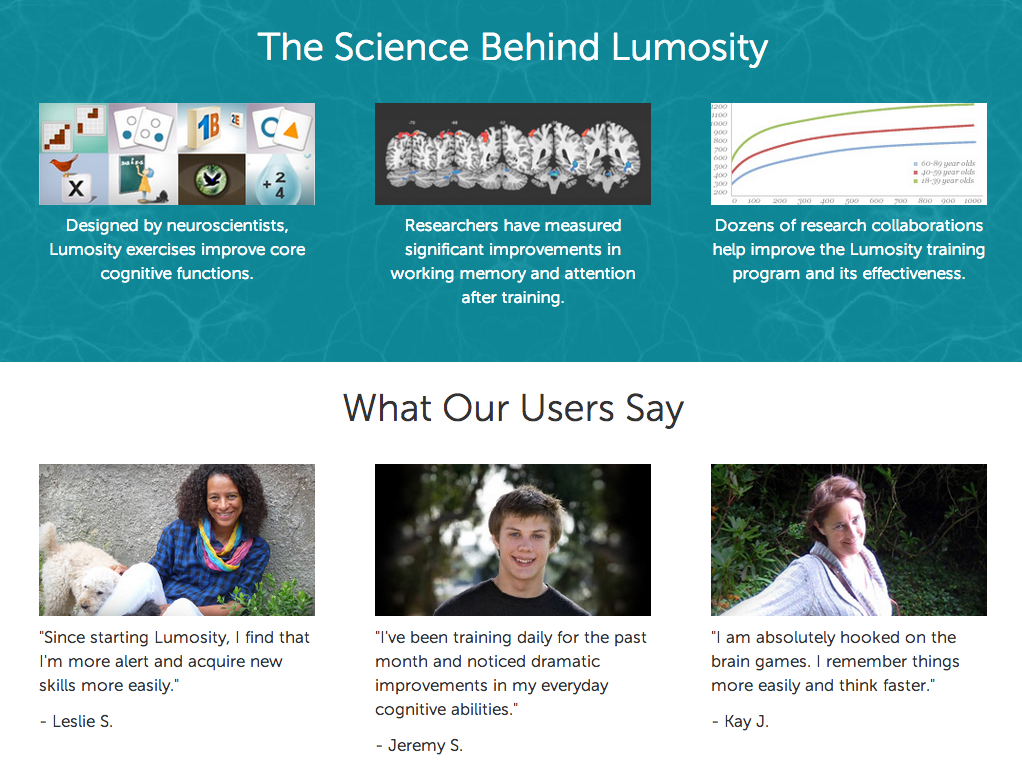 More features and benefits of Lumosity