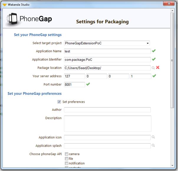 settings for packaging