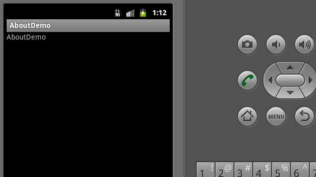 Viewing the options menu under Android 2.3.3.