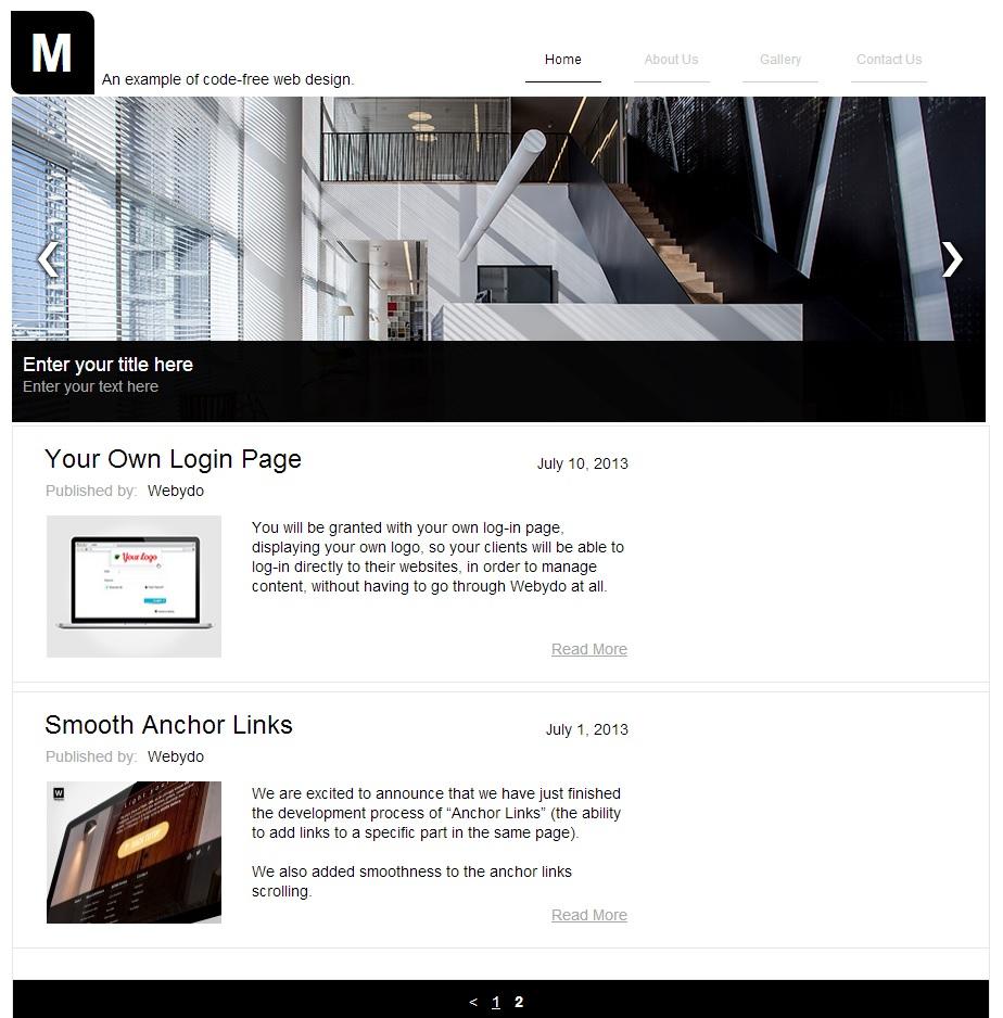 Homepage in Webydo