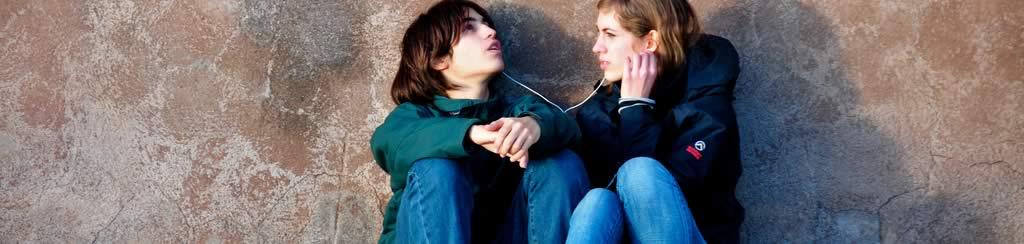Teens sharing music