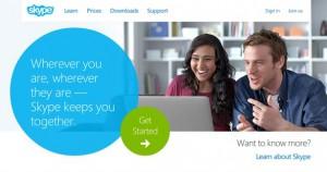 Skype Home page