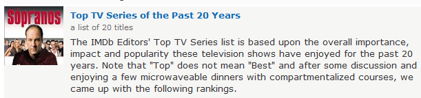Image of The Sopranos next to a link and text about the Top TV Series of the Past 20 years