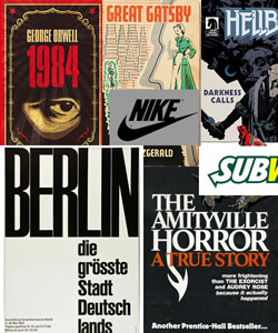 Examples of tight tracking on classic book covers.