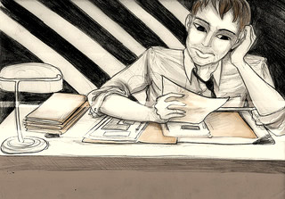 Pencil sketch of a guy at an office desk by Jem Yoshioka