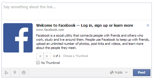 Open Graph usage on Facebook