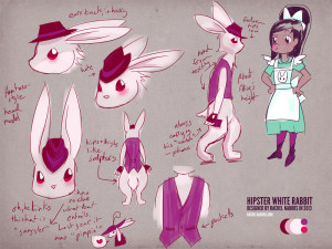Alice in Videoland Character Sheet-Hipster Rabbit by rachelthegreat