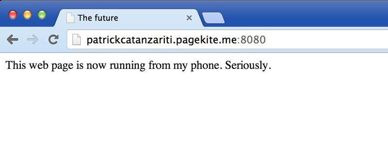PageKite delivering a website from my phone