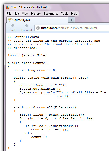 Firefox displays the CountAll.java code that's hosted on my website.