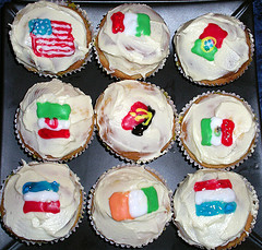 Cupcakes with world flags on them.