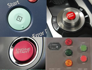 Red-buttons and green buttons in various real world settings.