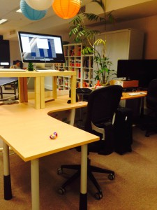Hacked standing desk at Flippa