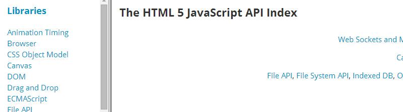 The HTML5 JavaScript API Index