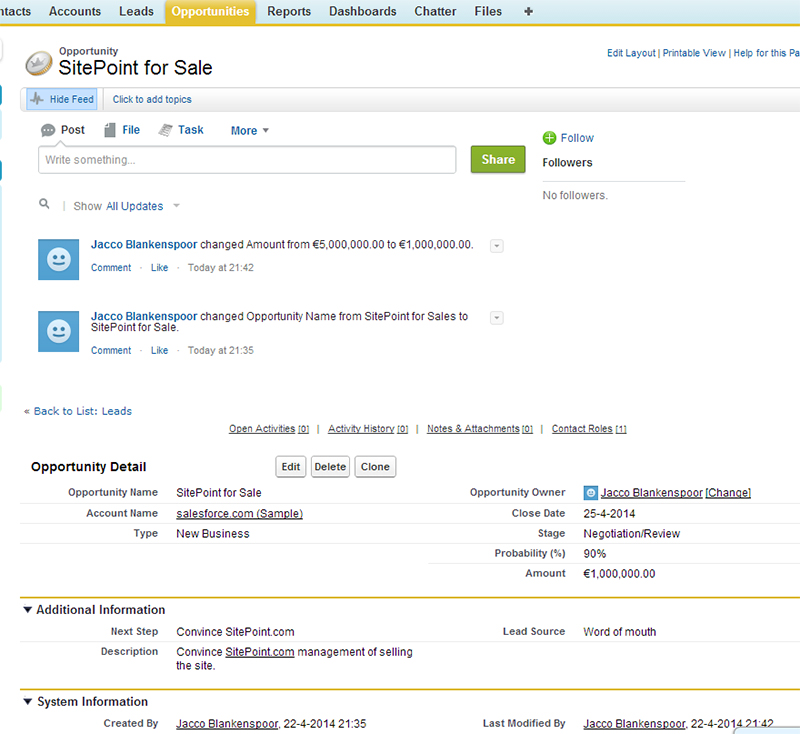 SalesForce Opportunities tab