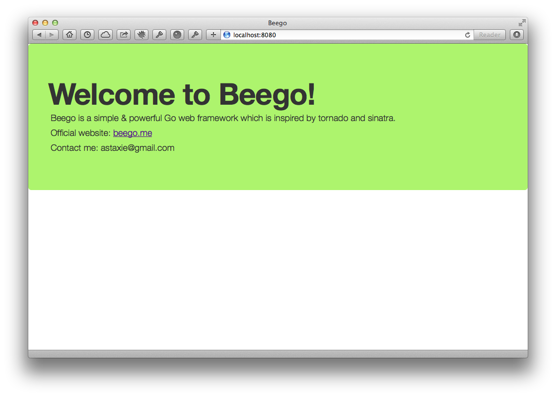 Beego App Home Page