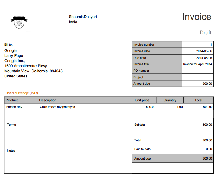Nutcache: The generated invoice.