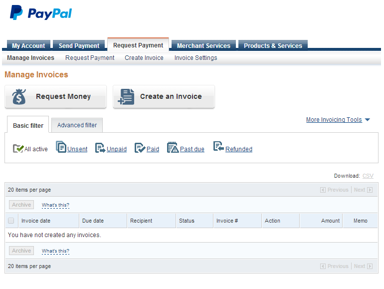 PayPal dashboard