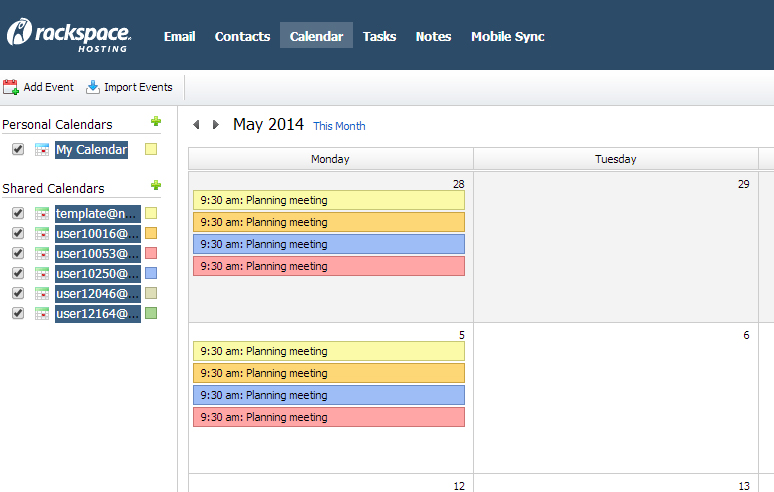RackSpace's shared calendar